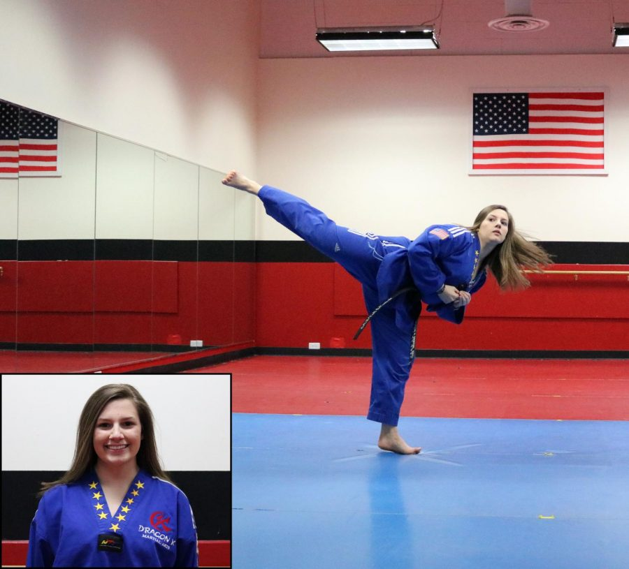 Senior Emily Detlaff trains at Dragon K Martial Arts in Lake Bluff, three to five days a week. She began martial arts seven years ago, and now she is a second degree black belt.