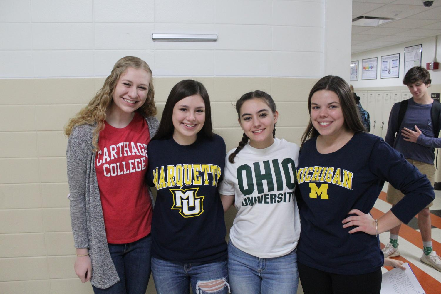 Ally+Kline+will+be+attending+Carthage+College%2C+Mariel+Sebby+is+enrolled+in+Marquette+University%2C+Kate+Mauer+is+going+to+Ohio+University+and+Anna+Wolski+is+entering++University+of+Michigan+in+the+fall.+%0A