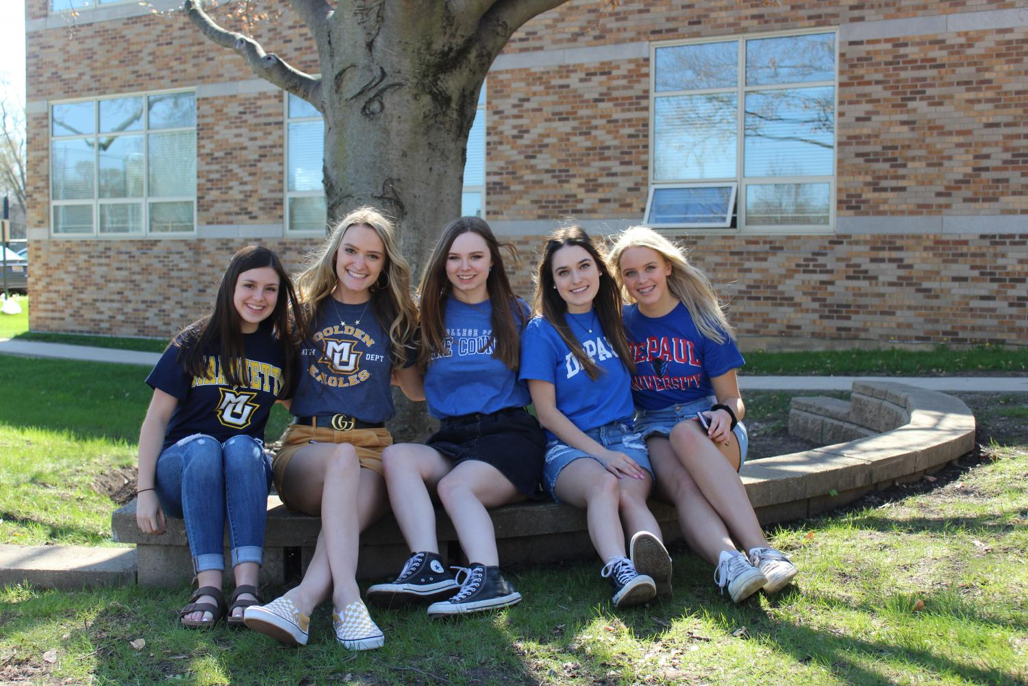 Mariel+Sebby+and+Katie+Kotzan+are+attending+Marquette+University%2C+Clara+Corkins+is+joining+the+College+of+Lake+County+and+Natalie+Brown+and+Justine+Gacek+are+going+to+DePaul+University.+%0A