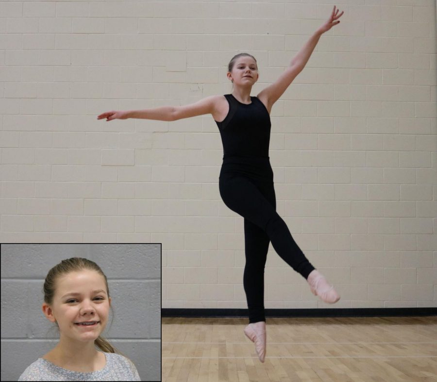 Freshman Charlotte Bossler currently participates in three different styles of dance: contemporary, ballet, and jazz. Pictured here, she is dancing contemporary.