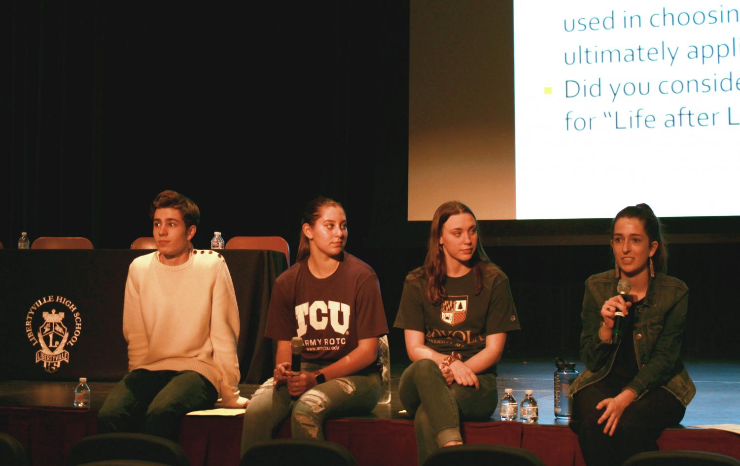 (left to right) Seniors Cooper Miller, Stephanie Gay (member of Drops of Ink), Brianna Reed and Tess Aumuller all came to share their recent experiences with college applications. The four discussed their personal application experiences and what their final decisions ended up being.