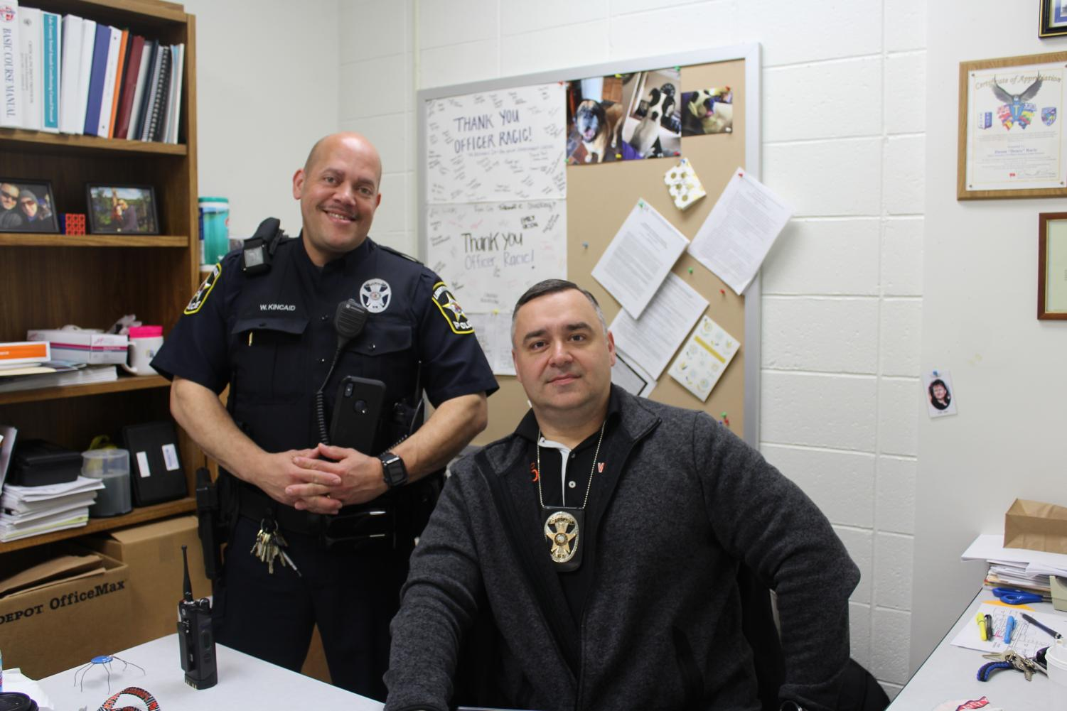 Current SRO Dusan Racic (right) has been promoted to Sergeant at the Libertyville Police Department and will leave LHS at the end of the 2018-2019 school year; Officer Wayne Kincaid (left) will take over the SRO duties.