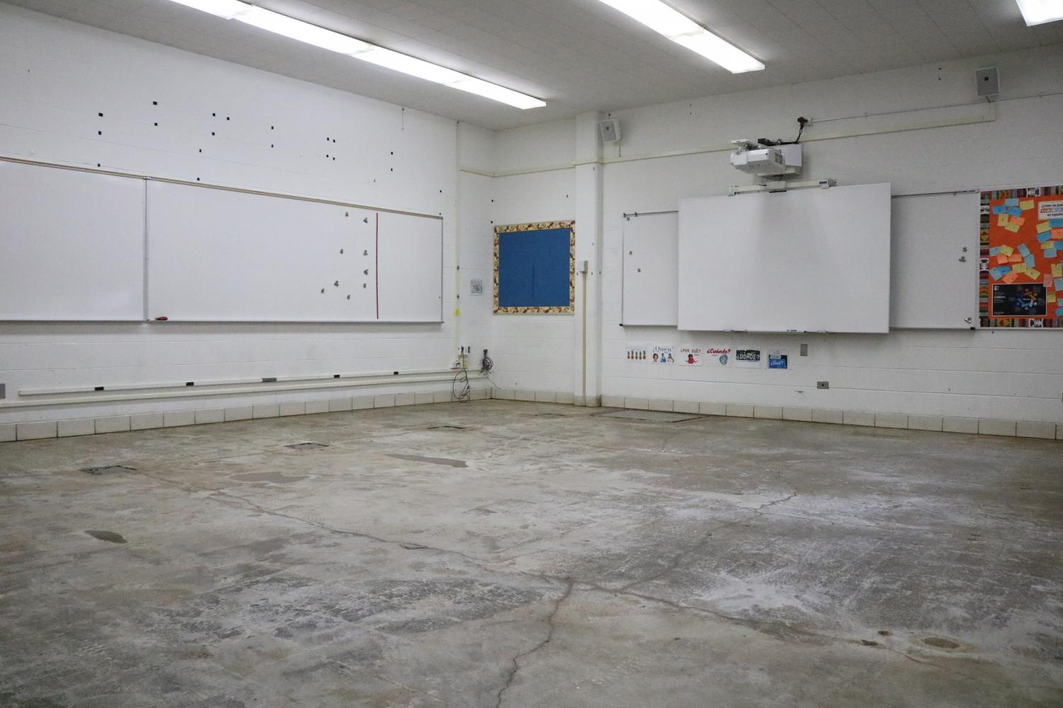 Room 130 is one of the foreign language classrooms where asbestos was found under the floor tiles. The asbestos was discovered in early April; the classrooms are expected to ready to use on May 20.