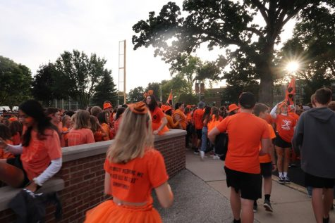Libertyville students exit the baseball field, beginning the first walk to Carmel in 15 years.