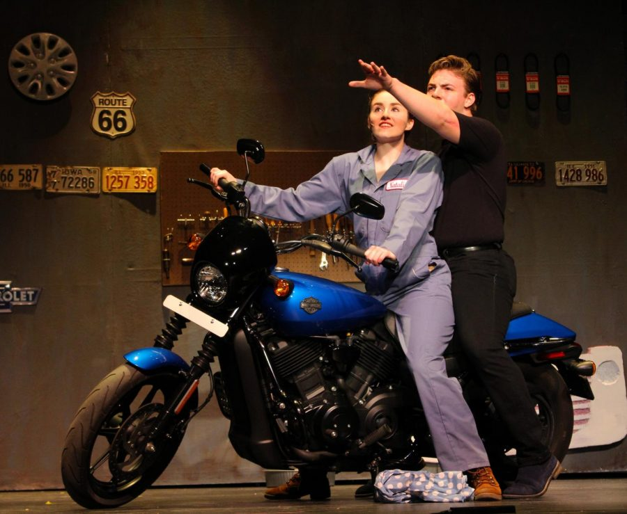 Junior+Rachel+Erdmann+and+senior+Albert+Sterner+star+as+car+mechanic+Natalie+Haller+and+motorcyclist+Chad+in+%22All+Shook+Up.%22+The+musical+is+adapted+from+Shakespeare%27s+romantic+comedy+%22Twelfth+Night.%22