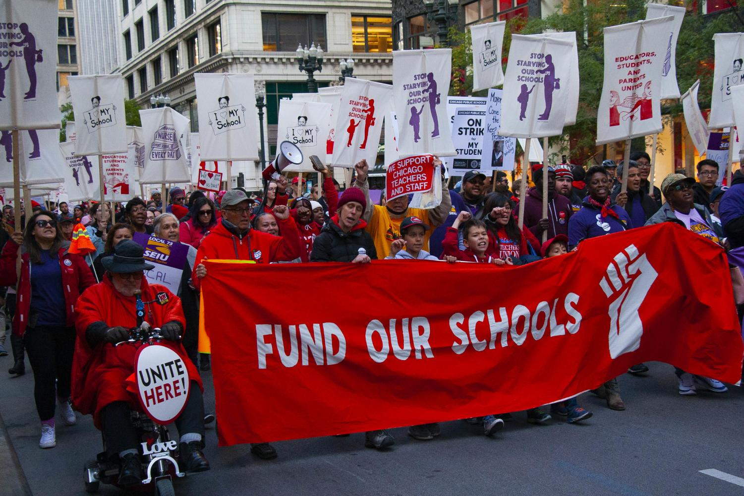 Members of the Chicago Teachers Union march during their recent strike.