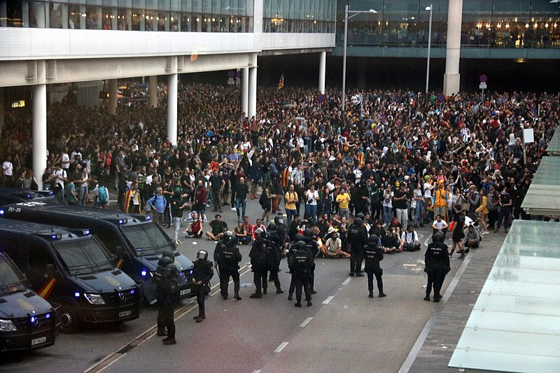Protesters+gather+at+the+airport+in+Barcelona+in+October.%0A