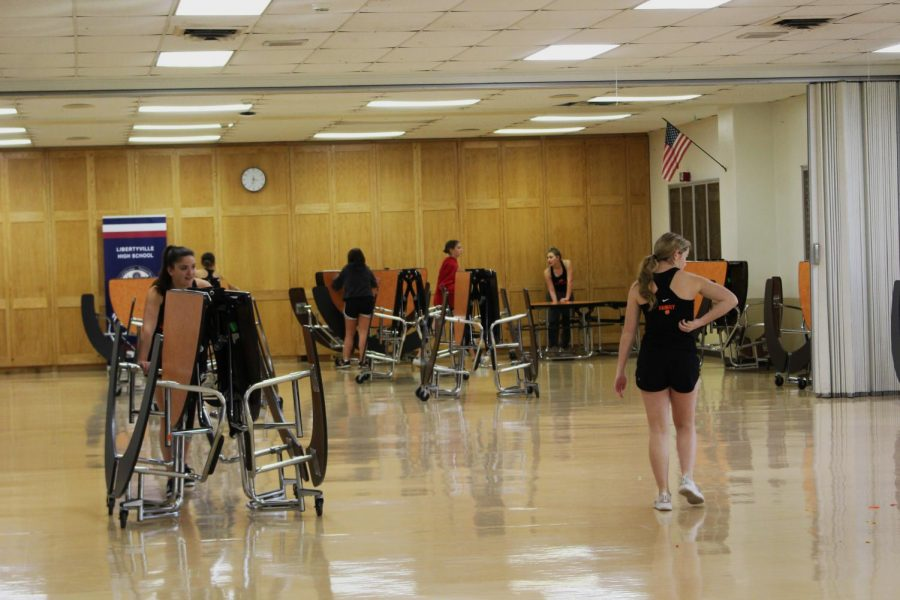 The dance team will continue to hold their rehearsals in the cafeteria or one of the gyms until the dance studio is finished.