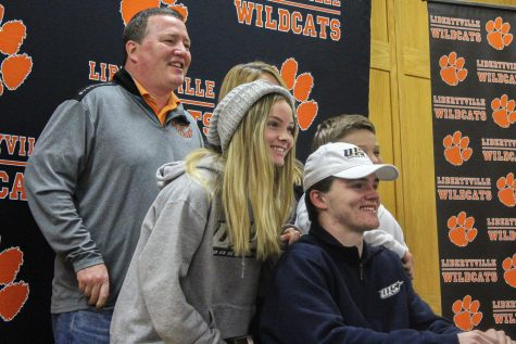 Sam Paden, a senior committed to University of Illinois Springfield for baseball, poses with his family after signing his letter.