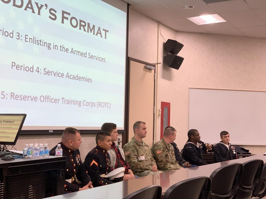 A Navy recruiter (second from the end of the right) explains the Armed Services Vocational Aptitude Battery, a test used to evaluate a person's qualifications for various military occupations.