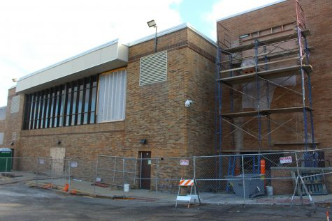 While construction is going on inside the new dance studio, they are also working on the exterior of the area.