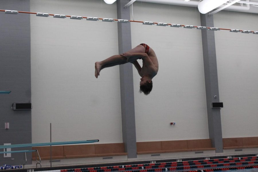 Freshmen Ethan Paul does a front approach into his dive.
