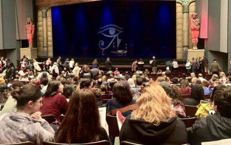"""The first look of the stage, right before the show begins. """"Aida"""" is based off of the opera created by Giuseppe Verdi. Elton John had the chance to make an animated feature of """"Aida"""", but instead chose to pursue the live-action, Broadway path."""