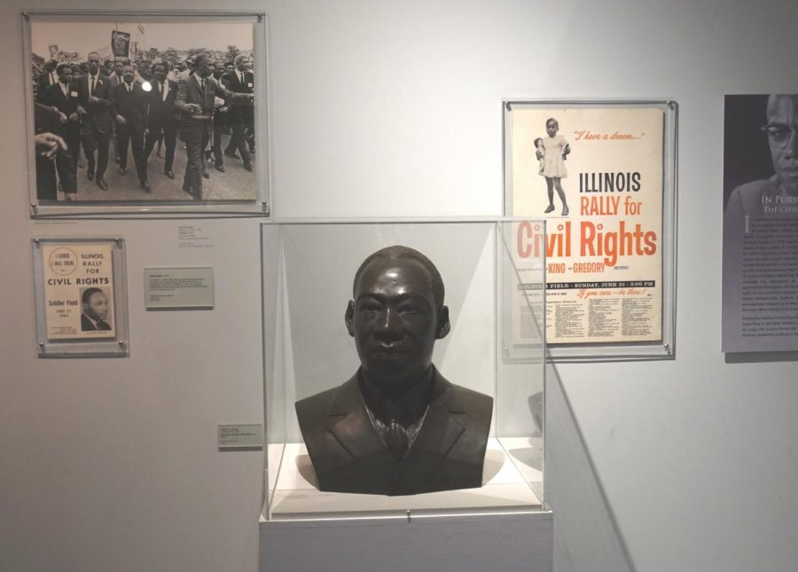 Martin Luther King Jr. was a prominent figure in the Civil Rights movement and inspired others even after his death in 1968. Martin Luther King Jr's exhibit is located in the DuSable Museum of African American History.