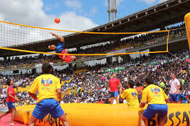 Bossaball was created in the early 2000s by Filip Eyckmans, who lived in Spain, the location for the sport's headquarters.