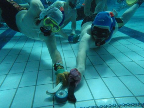 Equipment used in Octopush include snorkels, a latex glove, goggles and large fins for maneuverability.