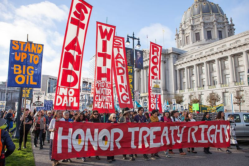 In San Francisco, a crowd protested for the safety of their water while also protesting against the Dakota Access Pipeline in 2016.