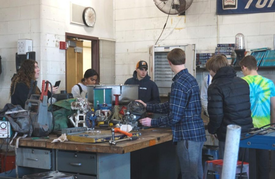 "According to Mr. Kelch, there is often a stigma around female students taking classes like Automotive Technology, which is usually considered to be a ""boy's class."""