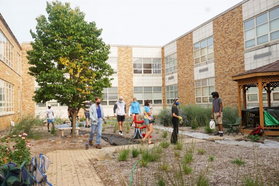 The LEAF club run by Mr. Lapish has been working to improve the school's courtyard.