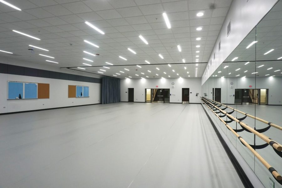 The new dance studio is on the lower level of the old pool area. P.E. courses, poms, and orchesis will be able to utilize this new space.