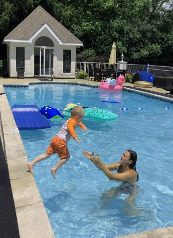 Freshman Logan Howard began swim lessons in her own pool over the summer since many pools were closed due to COVID-19. Three days a week, she held lessons for kids aged 1-9 for half an hour, and then they were given the opportunity to stay for another half an hour to play in the pool.