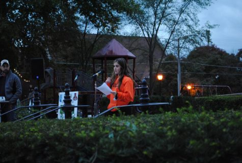 LHS Senior Elena Kafkis, gave a speech at the rally urging the School Board to consider in-person learning.