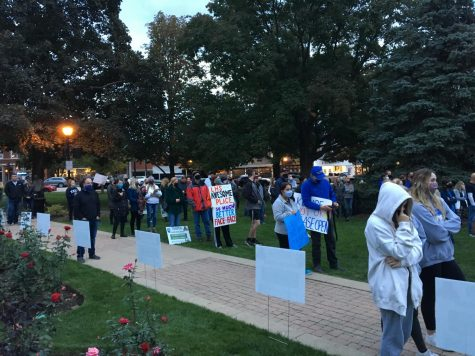 Supporters at the rally gathered in Cook Memorial Park with signs and posters.