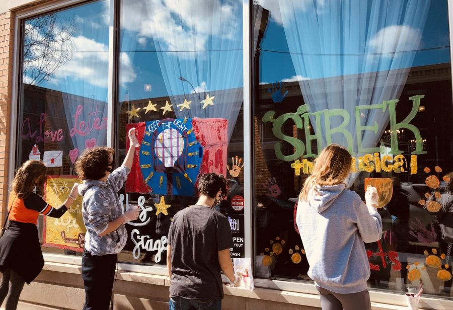 Stageplayers depicted their past musicals and musicals they plan to do in the future on the windows of Shakou.