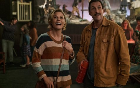 "Julie Bowen and Adam Sandler star as Violet Valentine and Hubie Dubois in ""Hubie Halloween,"" which premiered on Netflix on Oct. 7."