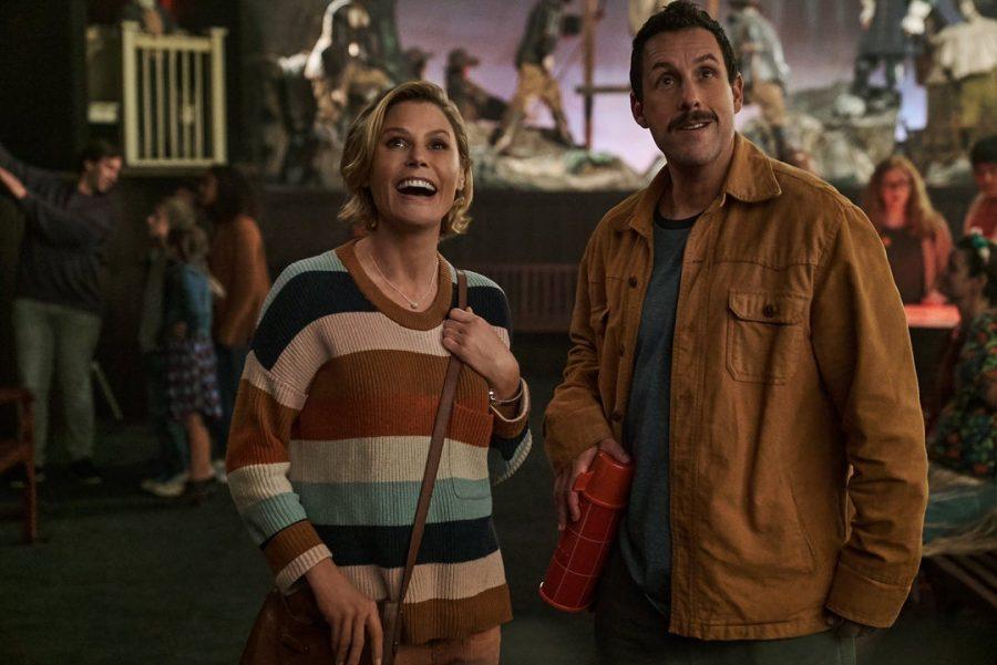 """Julie Bowen and Adam Sandler star as Violet Valentine and Hubie Dubois in """"Hubie Halloween,"""" which premiered on Netflix on Oct. 7."""
