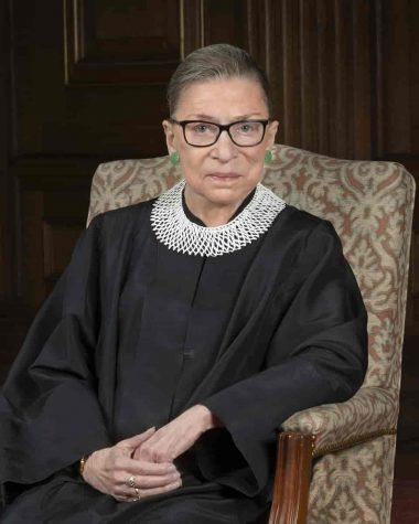 "According to Town and Country magazine, each one of Ruth Bader Ginsburg's collars have different meanings and names, including ""Not a Fan of Him,"" ""The Majority Opinion,"" ""The Dissenting Opinion,"" ""The Favorite"" and ""The Original."" The one in this photo is ""The Favorite."""
