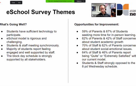During the board meeting, LHS Principal Dr. Tom Koulentes reviewed the results of the Panorama survey sent out to D128 students, staff, and parents in late September.