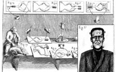 The well-known story of Frankenstein was deeply influenced by the science experiments in the early 1800s that tested muscle movements from electricity. The background image above depicts Luigi Galvani's frog muscle experiment and its similarity to Frankenstein's creation.