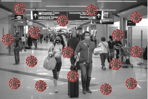 Photo Illustration by Alex Clark; photos of airport and Coronavirus from Wikimedia Commons