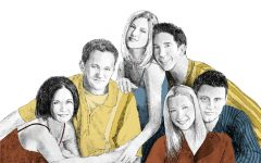 Drawing of the sitcom characters of Friends.