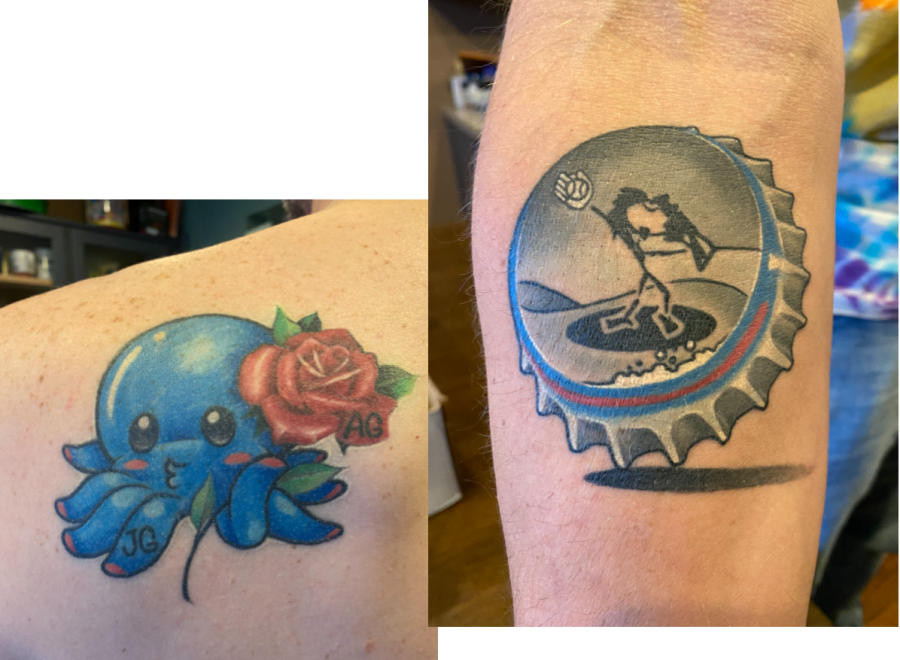 Jeremy Gerlach has two tattoos, one on his back and one on his forearm. The octopus and rose represent his two children and the bottle cap depicts a drawing his daughter made.