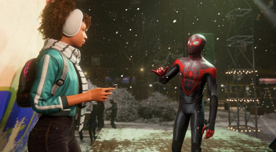 When not beating criminals to a pulp, Spider-Man also supports individuals in his community of Harlem. In-game screenshot.