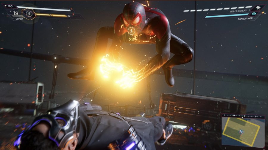 Another new ability unique to Miles is Venom power. This Venom power draws from Miles's ability to harness energy and spurt out bioelectric blasts. In-game screenshot.