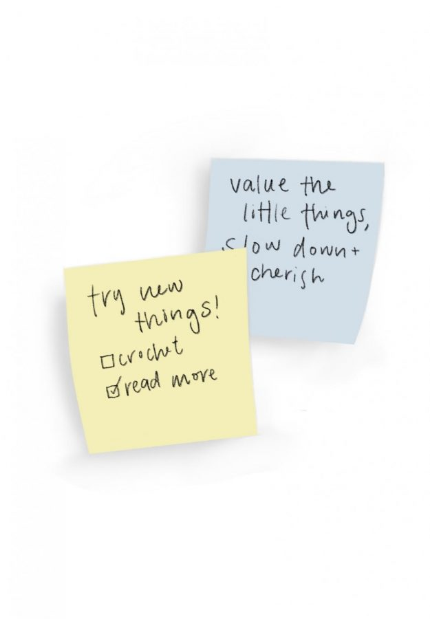 cluster of sticky notes that say,