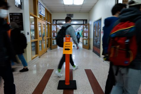 The halls of LHS look different this year, as a two-way hallway system has been implemented to enforce social distancing.