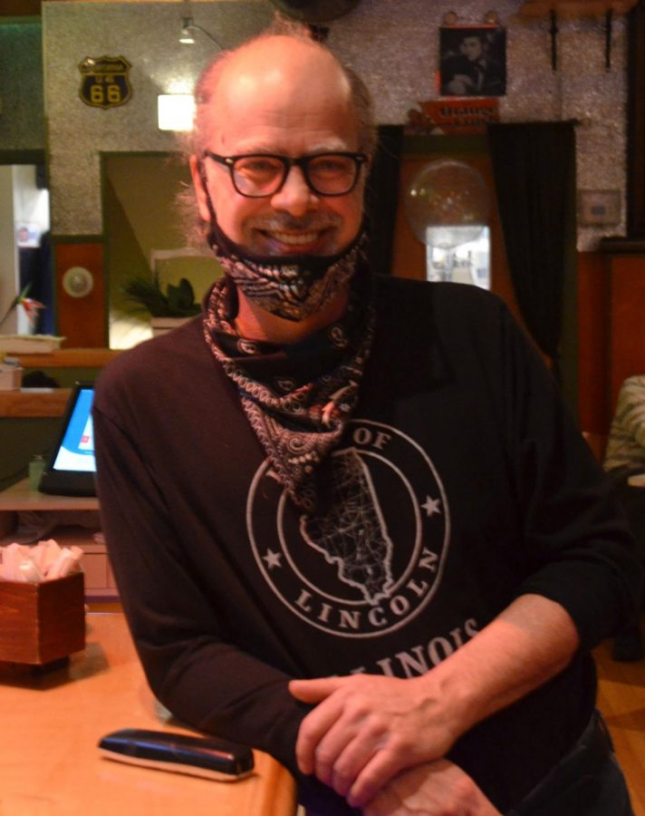 """Dan Temesey, a co-owner of Green Room and Birdy's Coffee House, pays out-of-pocket for recycling. They also participate in """"food recycling,"""" or composting, which requires an additional fee."""
