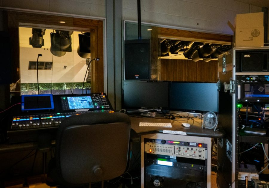 The control booth above the auditorium is home to much of the technology behind LHS's theater productions. Positioned directly above the balcony, students running lights and sound have the ability to see the entire stage and make sure everything is working smoothly.