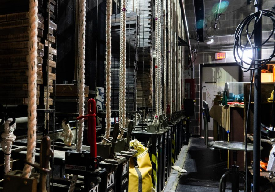 Backstage of the auditorium, crew members use these ropes to control lights and larger set pieces. The pieces are attached to the ropes and stored above the stage, where crew members can then use the ropes to raise and lower them as needed.