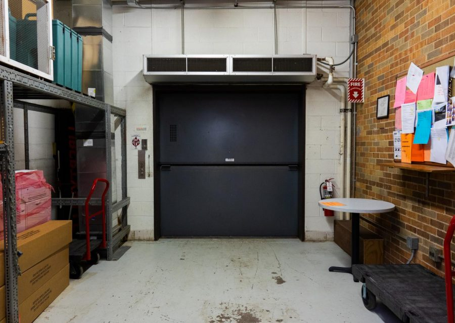 Located around the corner from the building and grounds offices, the loading dock elevator is used to access the basement and loading dock. Supply shipments can be brought in from the loading dock and transported downstairs through here. LEAF also uses this elevator to bring recycling bins downstairs to be picked up by recycling services.