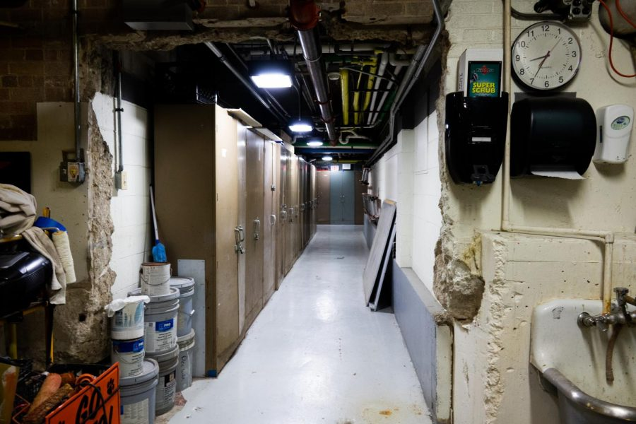 The basement also contains several storage lockers with various supplies and maintenance tools.