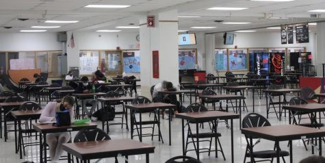 The cafeteria is open for eating for the first time in over a year, but with many restrictions. Students must sit at separate tables six feet apart and wear masks for the duration of their lunch period unless eating.