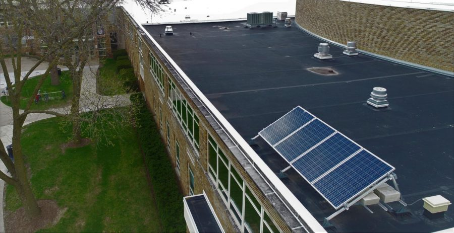 Libertyville High School has several solar panels installed on the northeast corner of the building, which were put in place seven years ago. These current panels do not generate a significant amount of electricity for the school.