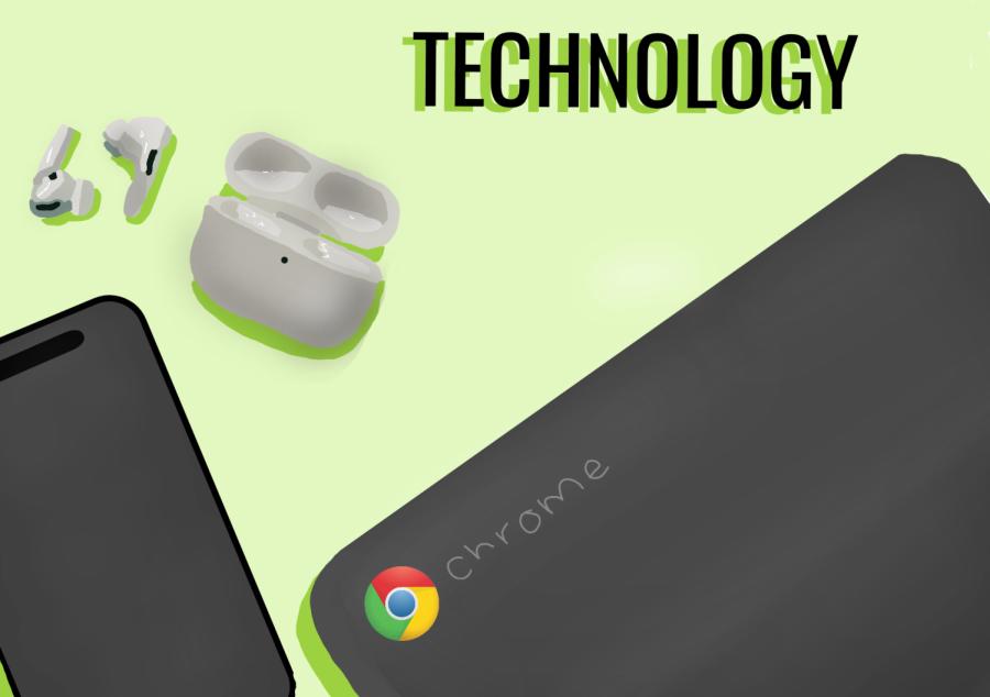 Chromebook, airpods, phone