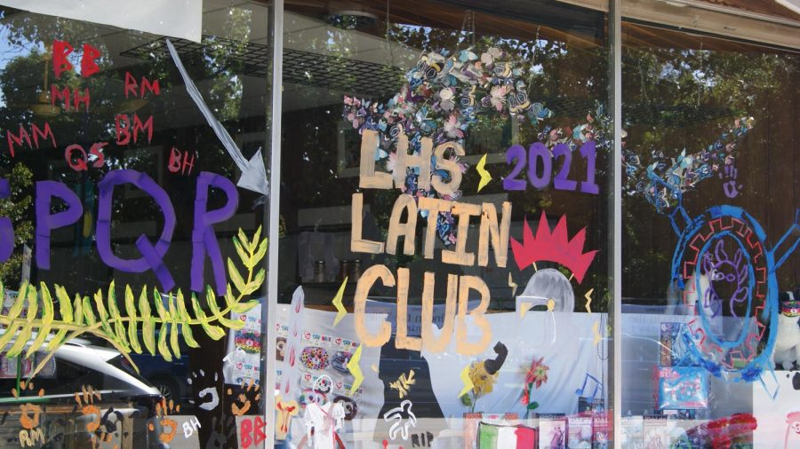 The LHS Latin Clubs window was decorated with a helmet and SPQR.