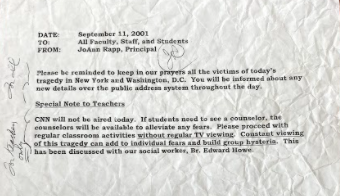A letter from the former principal of Mr. O'Neill's previous school wrote to the teachers on the day of 9/11. In it, it states that the school day should continue as planned and to disregard what is happening on the news.